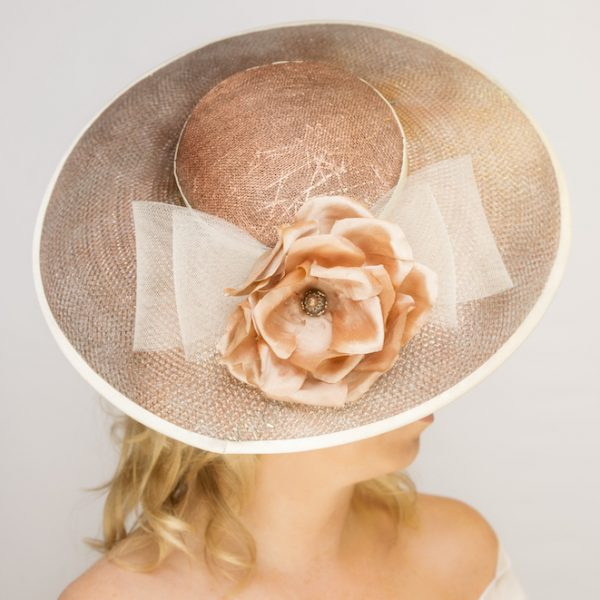 Bronze sinamay and crin couture hat with silk rose