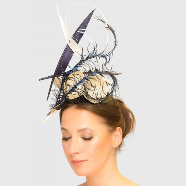 Lady Amhurst Navy And Ivory Fascinator Freeform Headpiece