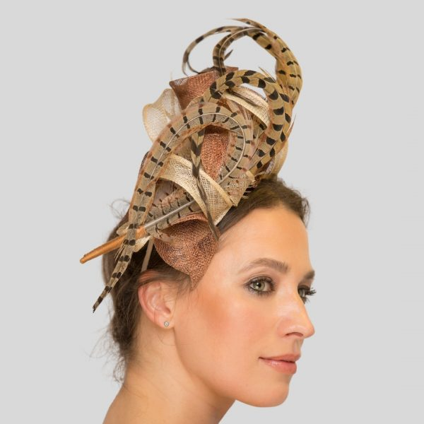 Bronze Pheasant Feather Race Day Fascinator Headpiece - side view left
