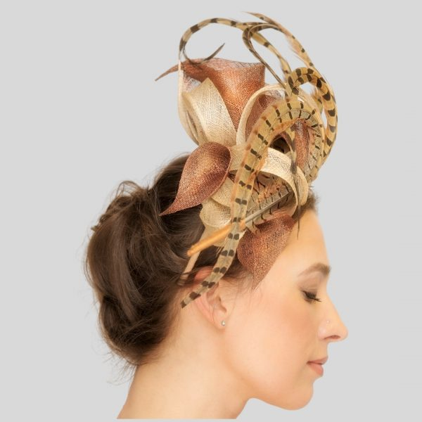 Bronze Pheasant Feather Race Day Fascinator Headpiece - side view l