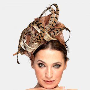 Bronze Pheasant Feather Race Day Fascinator Headpiece