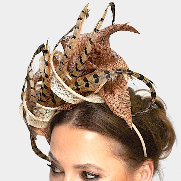 Bronze Pheasant Feather Race Day Fascinator Headpiece - detail view right